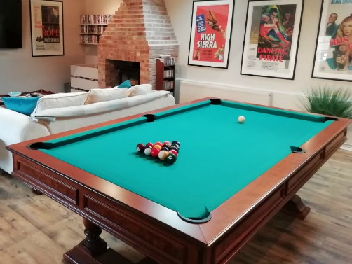The snooker table at The Old Tractor Barn
