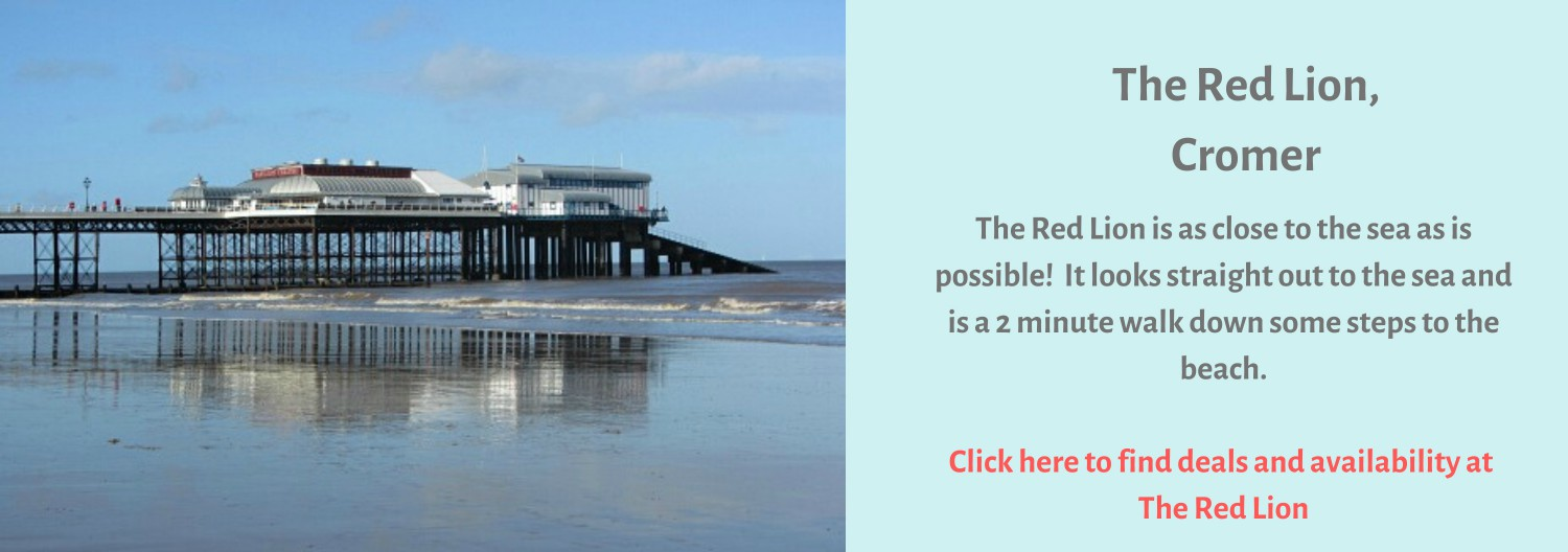 The Red Lion pub in Cromer overlooks the beach and the Pier