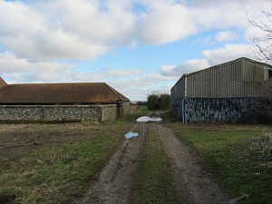 Farm buildings before the view