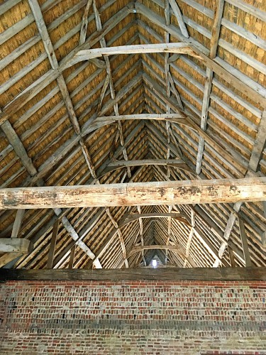 The interior of the thatched barn at Waxham