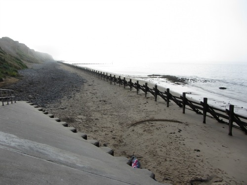 West Runton beach with sea defenses