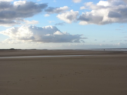The empty expanse of sand on Holkham beach