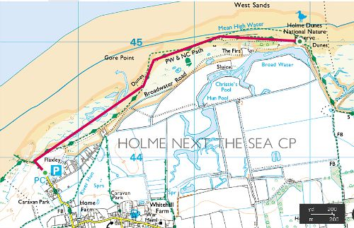Map of Holme Dunes Walk