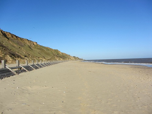 Cliffs and sea defences at Mundesley