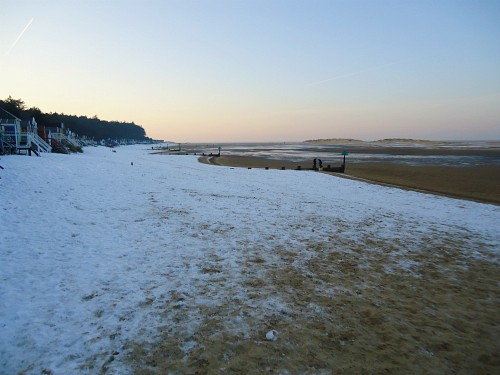 Snow on the beach at Wells-next-the-Sea