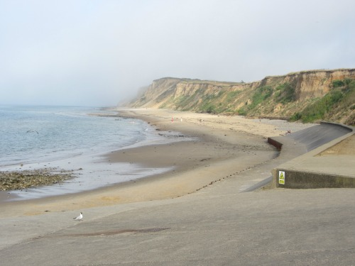 West Runton with mist in the distance