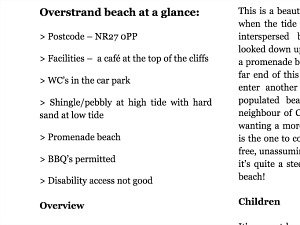 Norfolk Beaches Handbook At a glance example