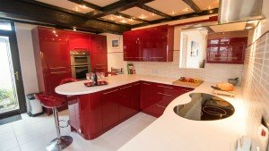 The very modern and contemporary kitchen at Beachside House, Scratby
