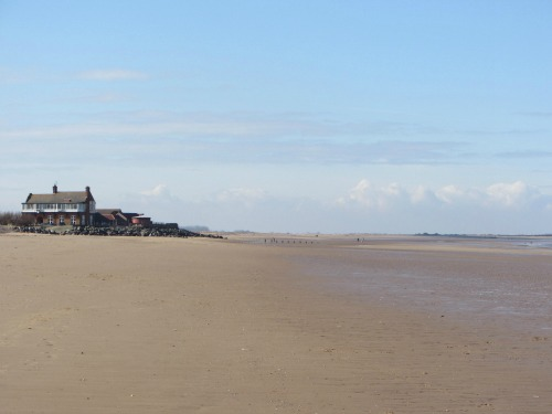 Royal Norfolk Club House from Brancaster beach