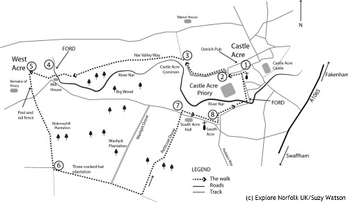 Map of Castle Acre circular walk