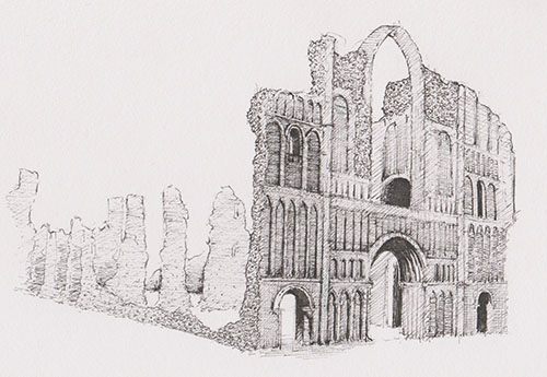 A drawing of Castle Acre Priory which features in the book