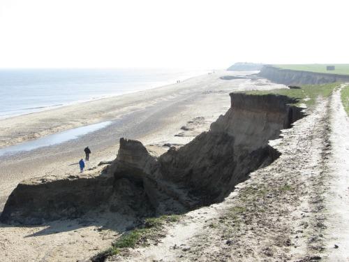Happisburgh beach cliff erosion