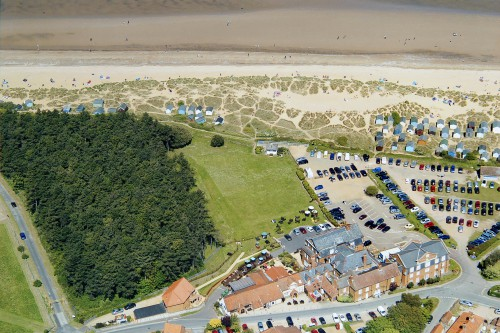 A fantastic aerial view of Le Strange Arms Hotel