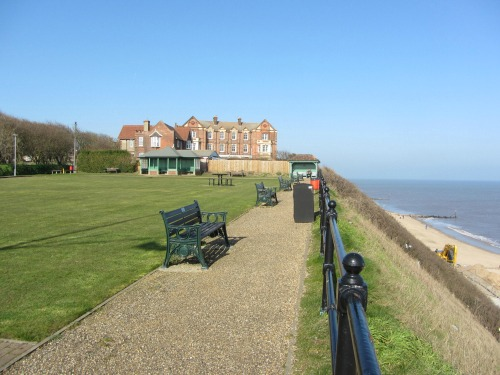 Mundesley beach and The Manor Hotel, Norfolk UK,  from the Green