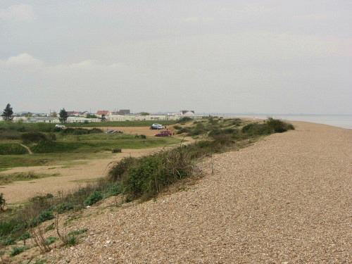Snettisham beach car park just behind the seawall