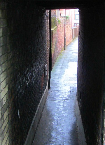 One of the many narrow alleyways in Norwich