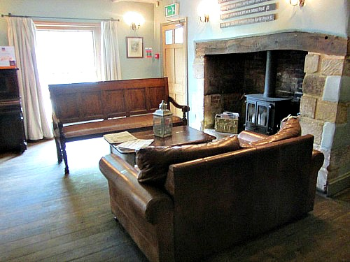 The cosy fireside at The Dabbling Duck, Norfolk