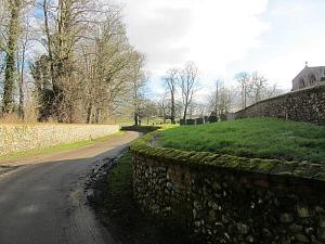 Flint stone wall of Walsingham village church