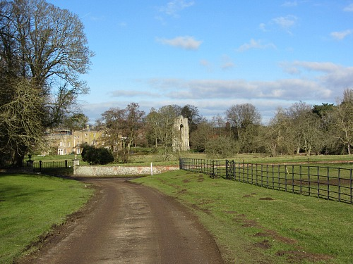 The view of Walsingham Priory on the circular walk