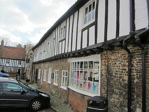 The old timbered houses in the village of Walsingham