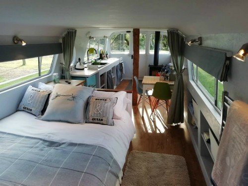The bedroom in the Woodland Boat